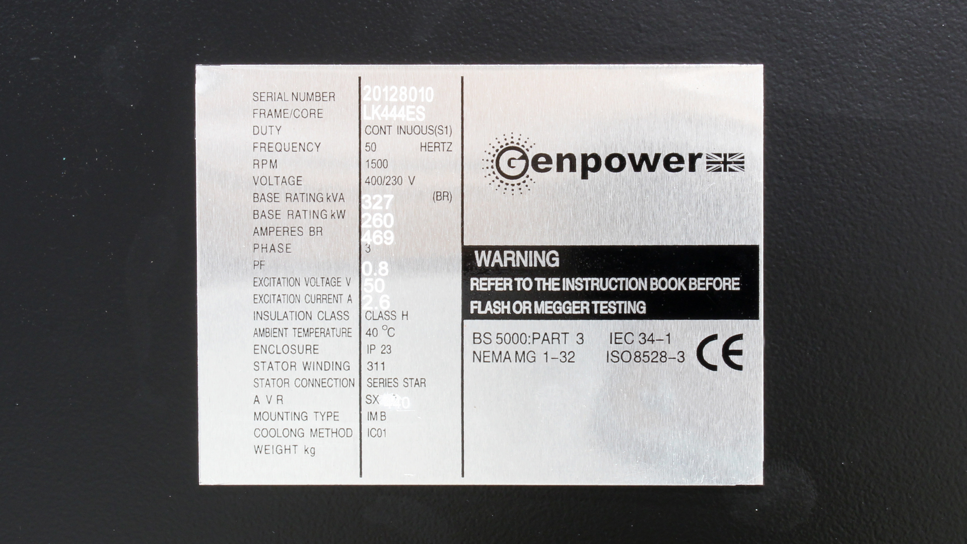Genpower LK444ES 360kVA Alternator Spec Plate