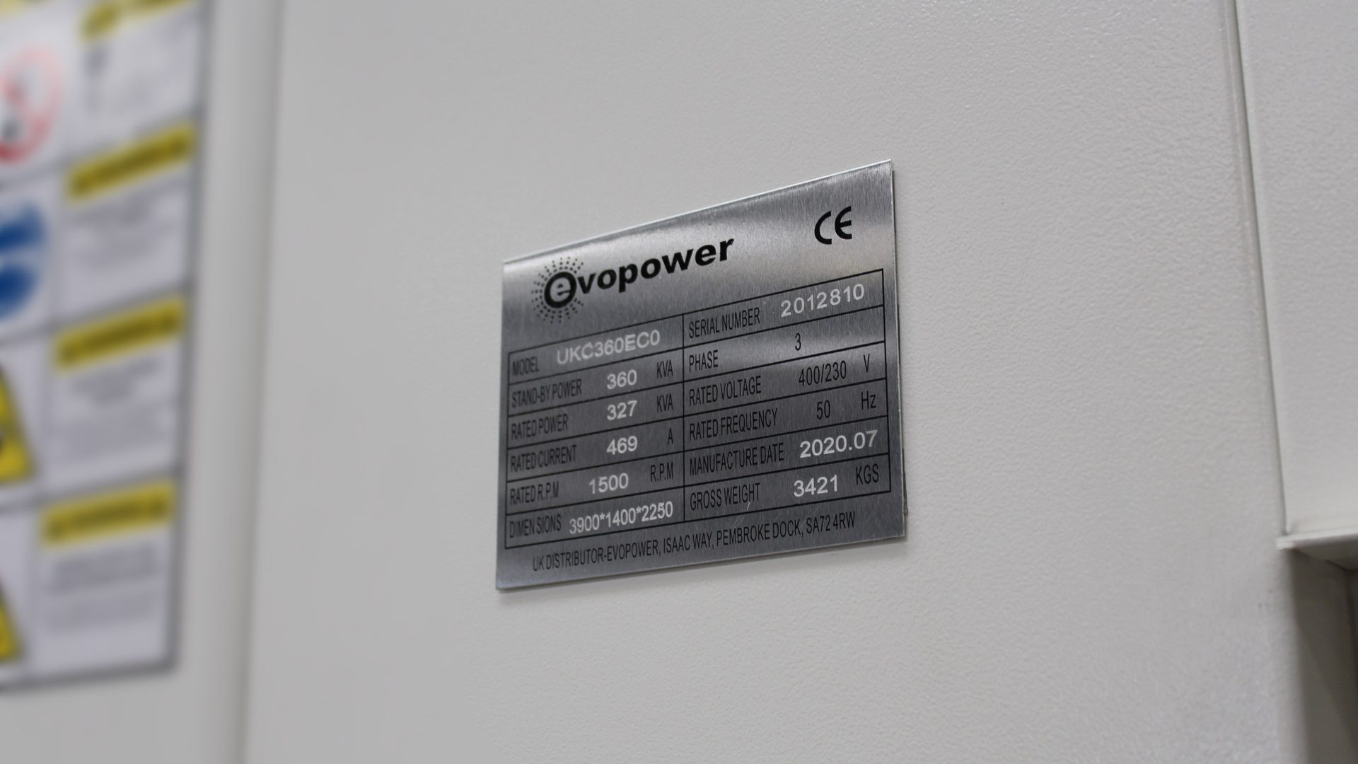 UKC360ECO Generator Spec Plate