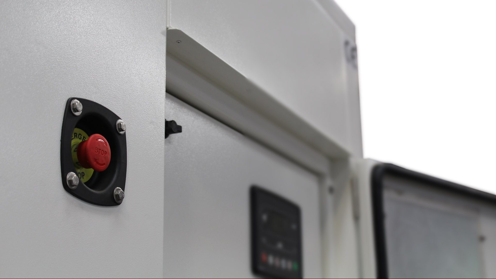 Emergency stop and control panel on Evopower 360kVA generator