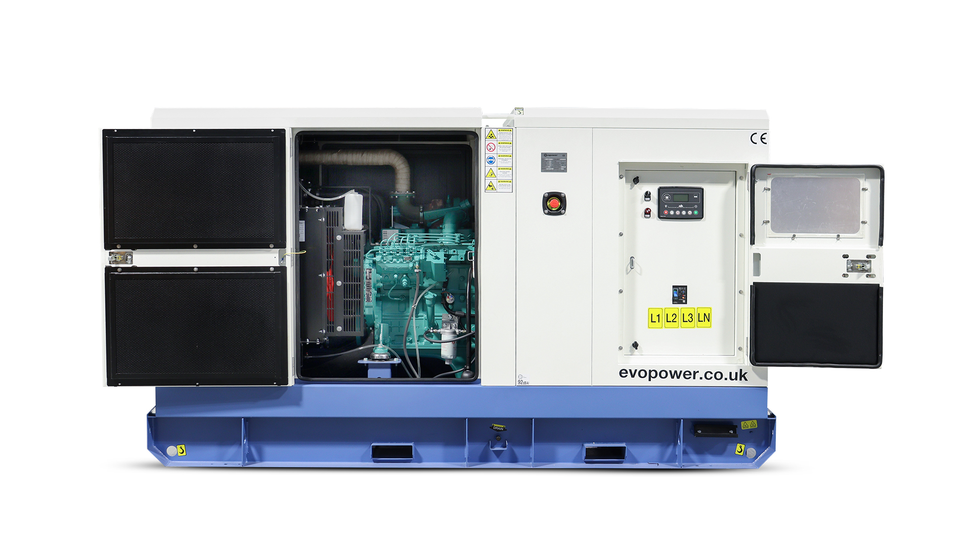 UKC110ECO generator with canopy doors opened to reveal the engine and control panel