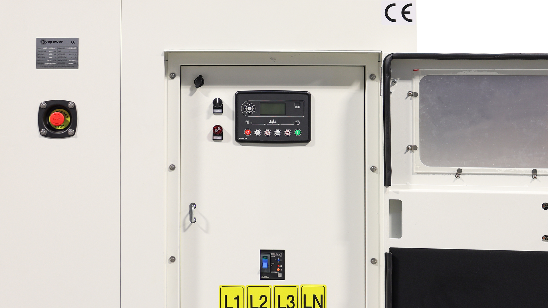 View of the Diesel Gen Including the DSE6120 Control Panel and Breaker
