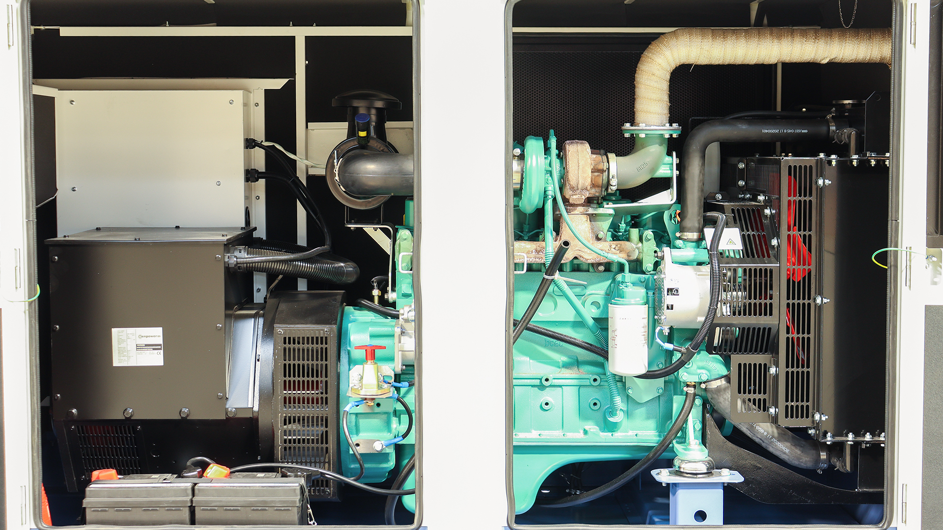The inside of the generator rear, showing the engine