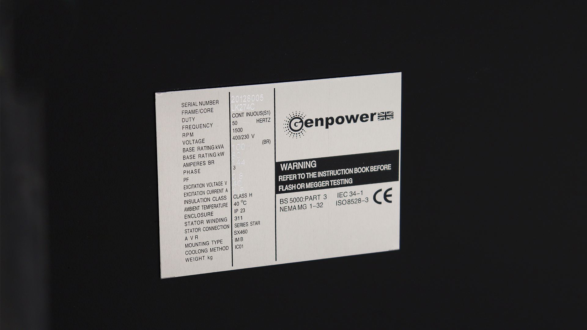 Label for the Genpower alternator fitted on the genset