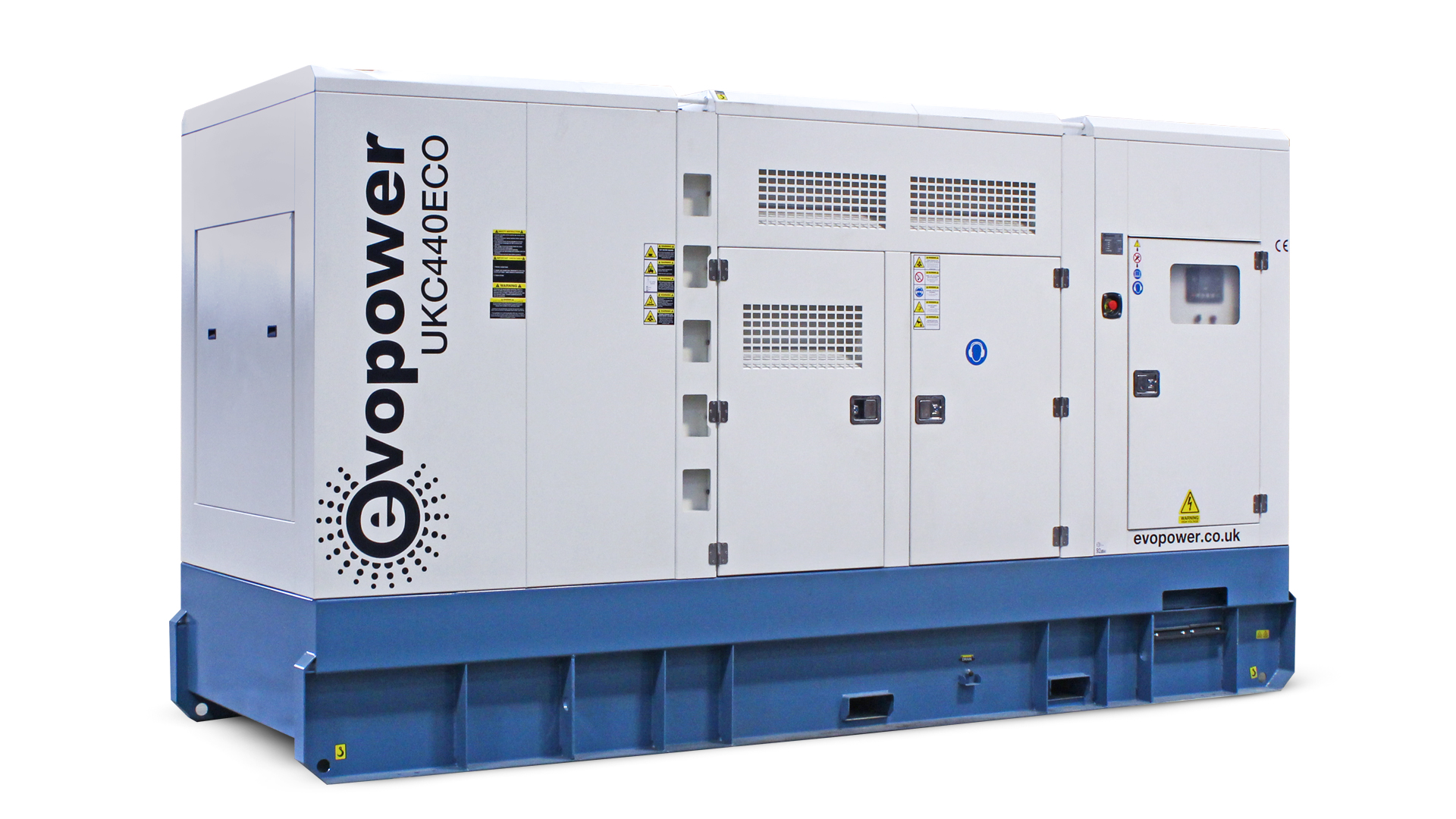 UKC440ECO 440kVA genset side on front view