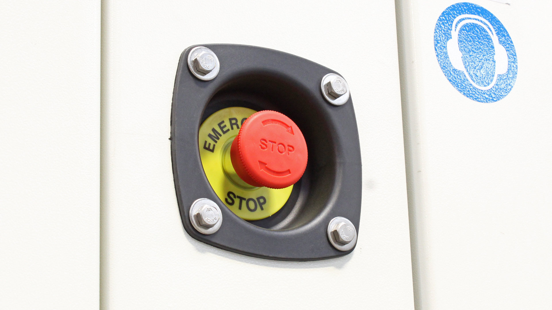 Emergency stop button on outside of the canopy for Evopower UKC ECO Range of generators