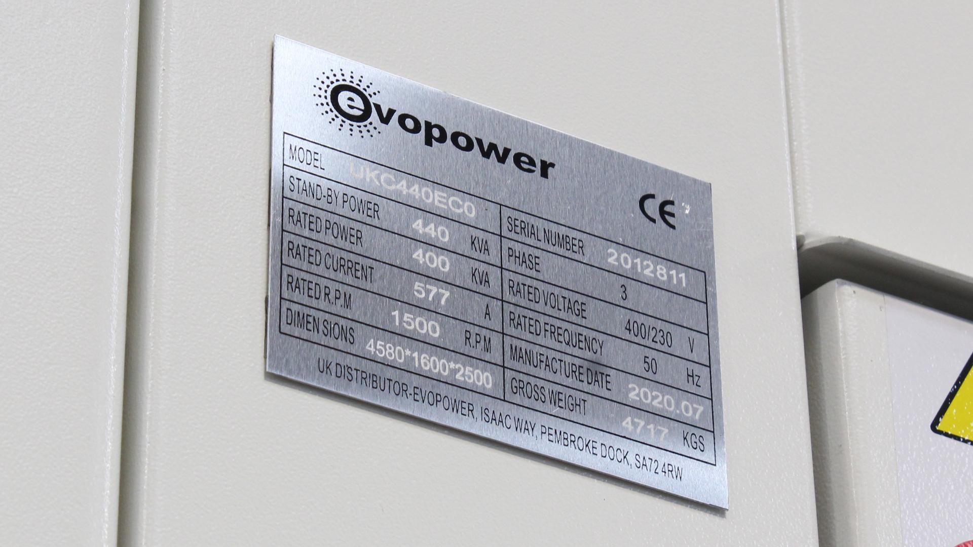 UKC440ECO Generator specification plate