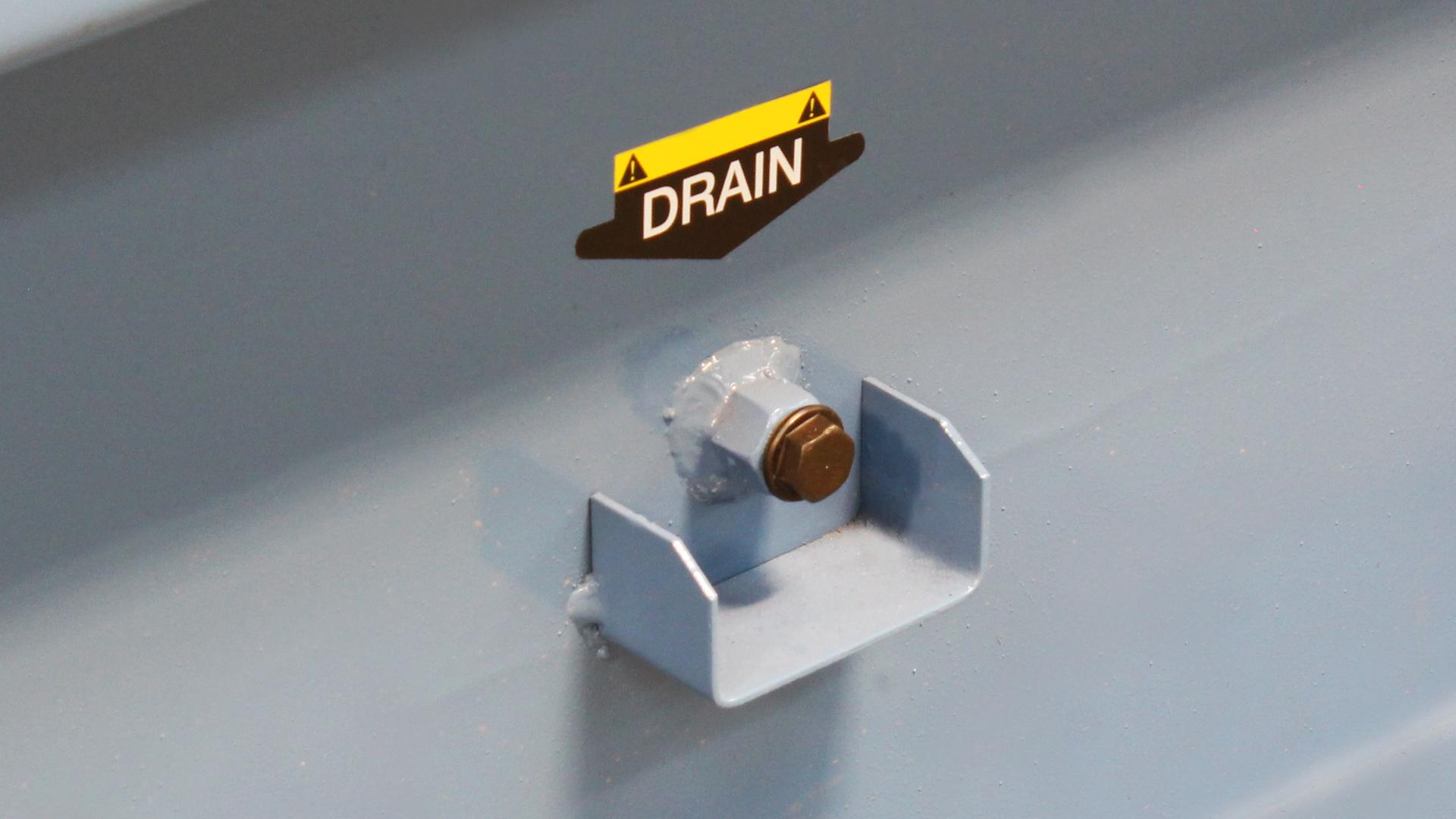 Drain valve on skid of Evopower Cummins powered generator range