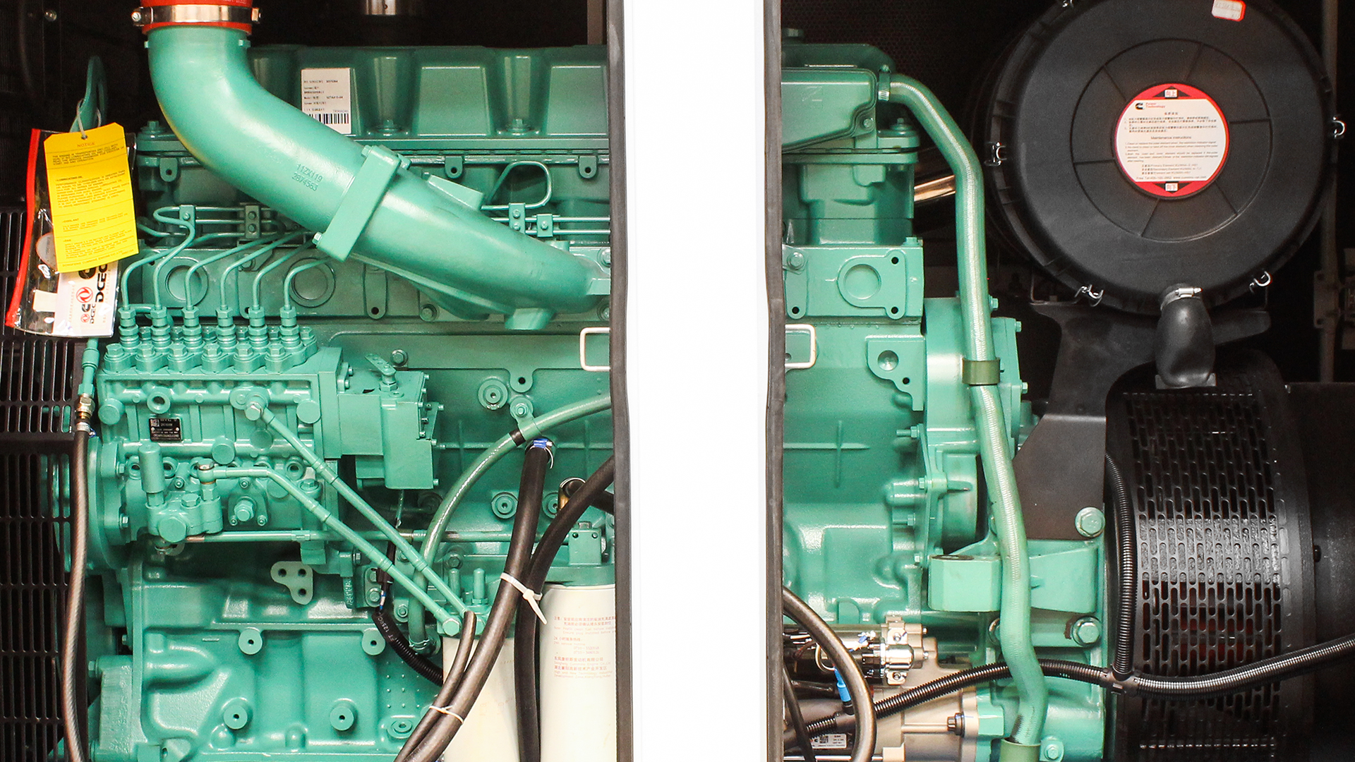 Side view with canopy doors open on 500kVA diesel genset UKC500ECO