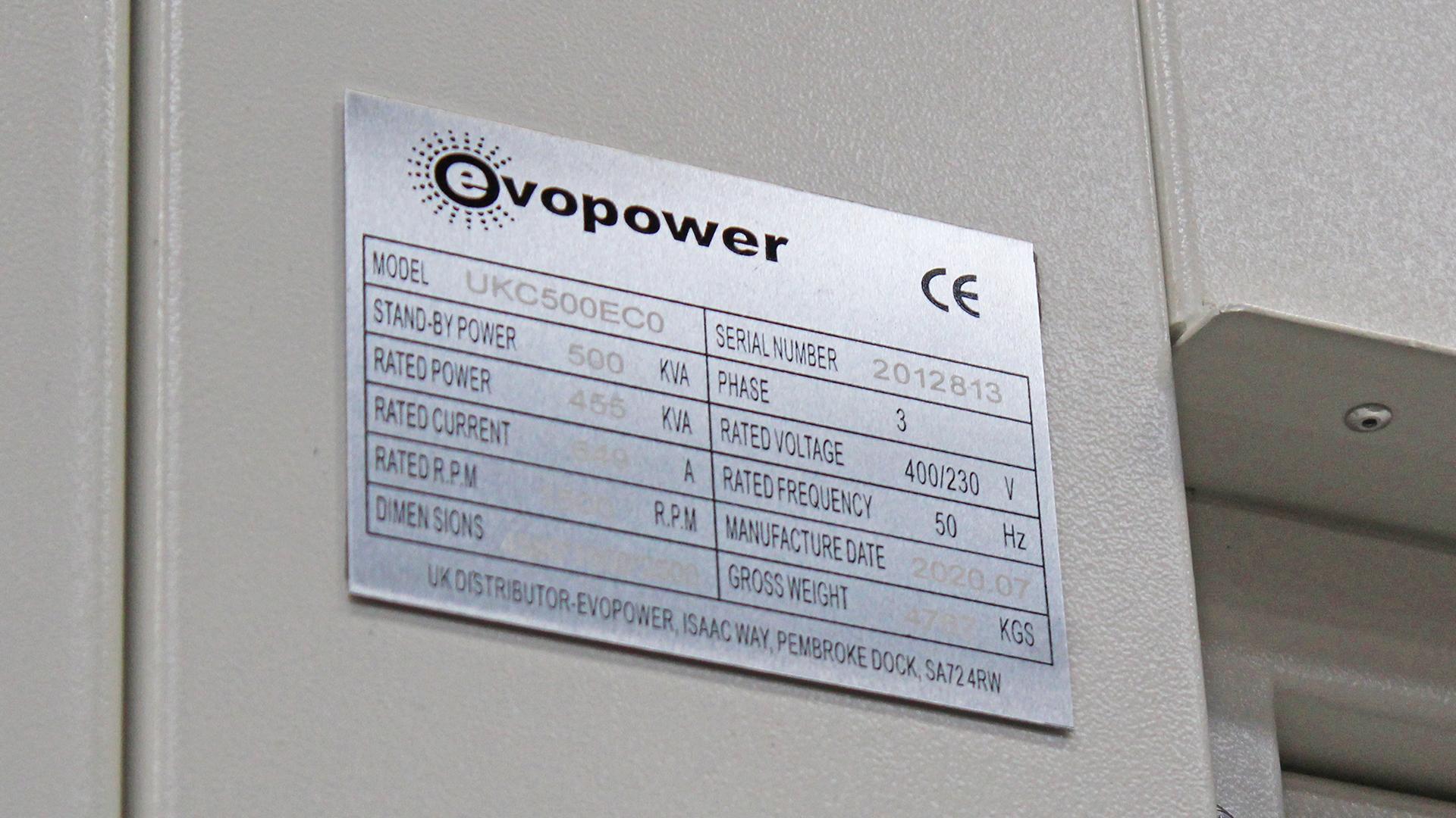 Spec plate - UKC500ECO Cummins Powered 500kVA generator spec plate