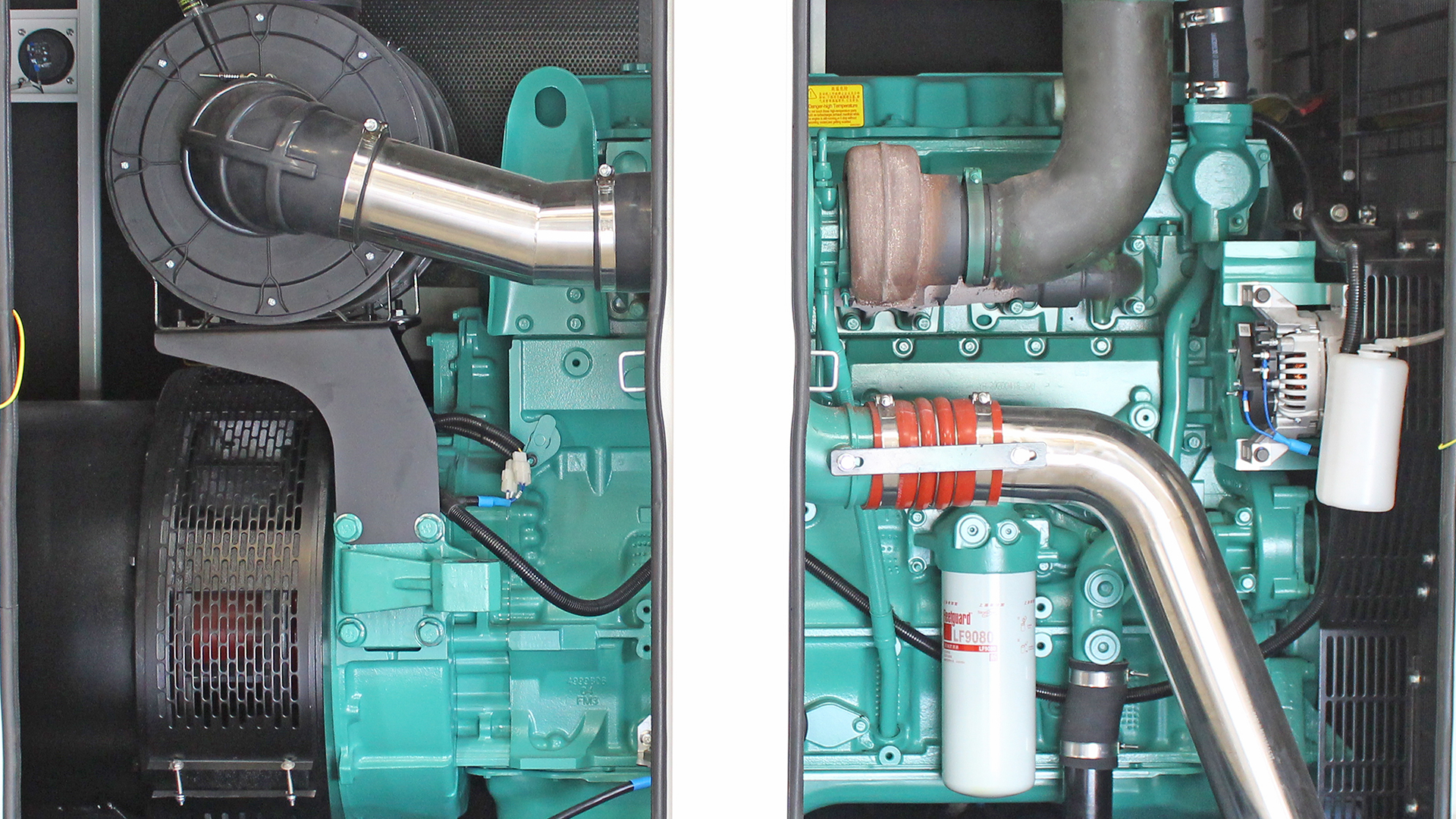 Rear side view of UKC500ECO generator showing Cummins engine