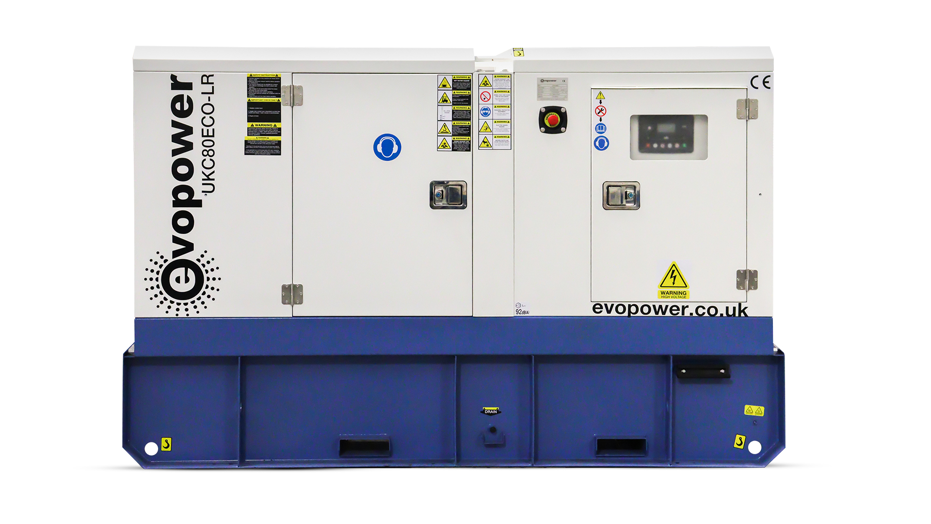 Front view of Cummins powered 80kVA UKC80ECO-LR generator