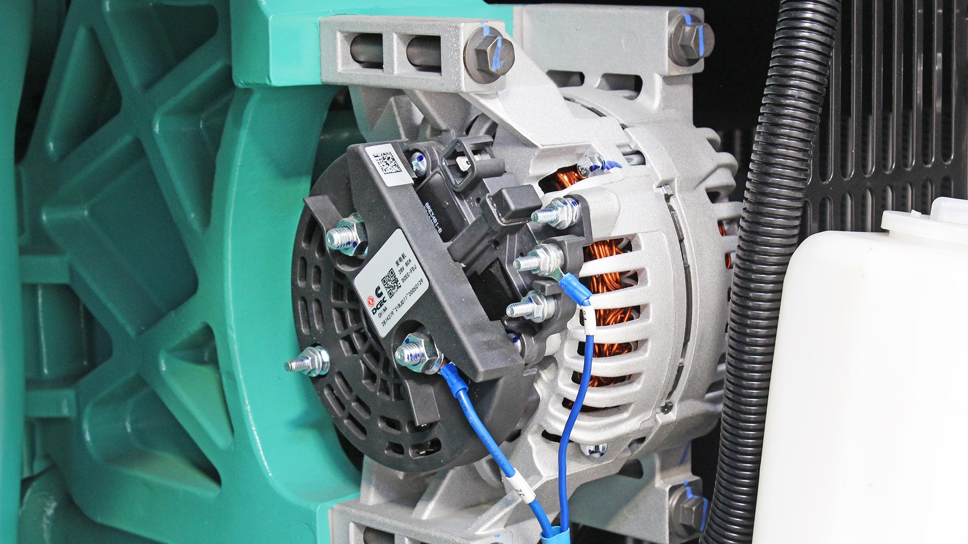 480kVA Generator with Cummins engine, showing the battery charging alternator