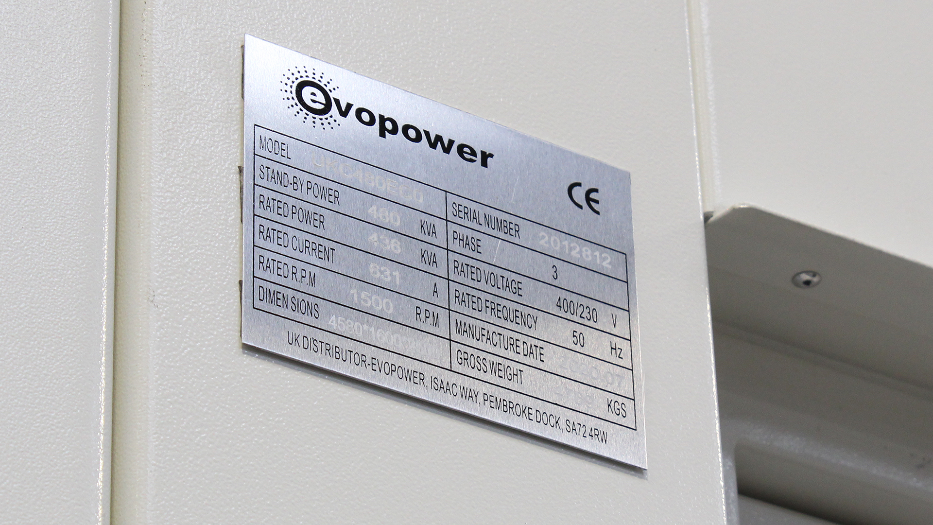 UKC480ECO specification plate