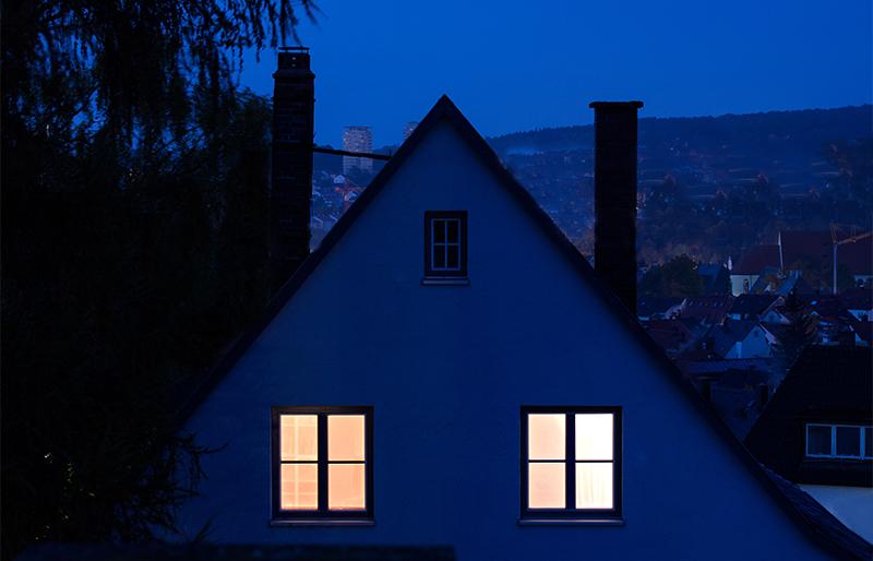 house lit up